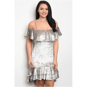 Dresses & Skirts - Silver velvet off shoulder dress